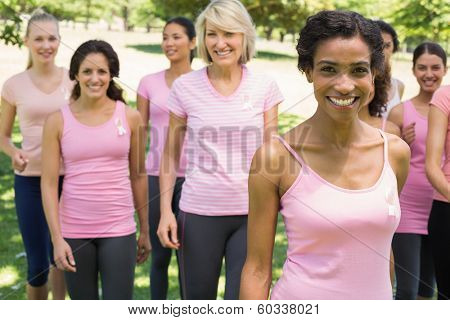 Portrait of multiethnic women participating in breast cancer awareness