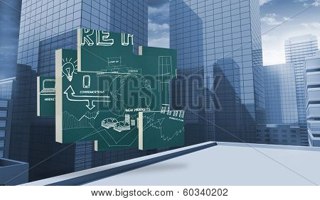 Brainstorm on abstract screen against view of dull cityscape