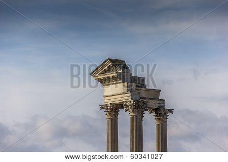 Old Roman Pillars In The Archaeological Park Of Xanten