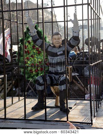 KIEV, UKRAINE - December 29, 2013: Ukrainian revolution, Euromaidan. Yanukovich in jail, installation.