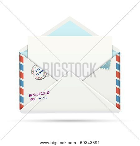 Open Old-fashioned Airmail Paper Envelope