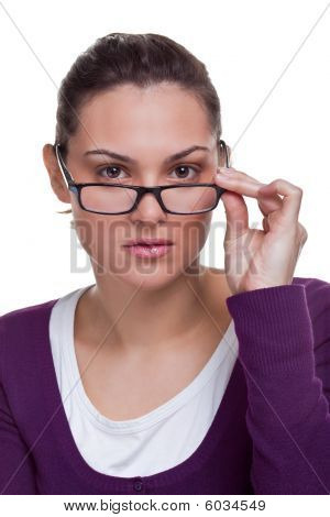Brunette Adjusting Her Glasses