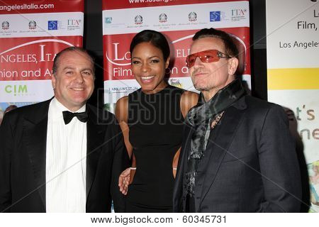 LOS ANGELES - FEB 23:  Carlo Bocchi, Naomie Harris, Bono at the LA Italia Opening Night at TCL Chinese 6 Theaters on February 23, 2014 in Los Angeles, CA