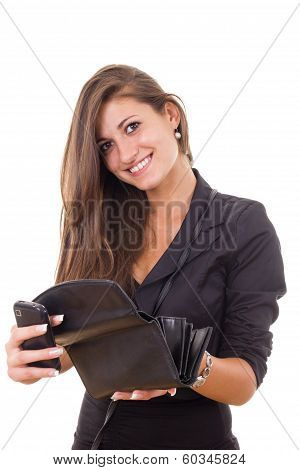 Successful Irresponsible Rich Business Girl Holding Wallet And Mobile Phone