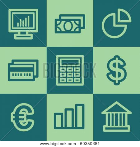 Finance web icon set 1, green square buttons set