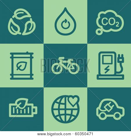 Ecology web icon set 4, green square buttons set