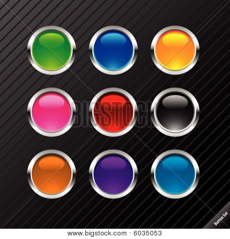 Collection of round glossy vector buttons. Different colors, easy to edit, any size