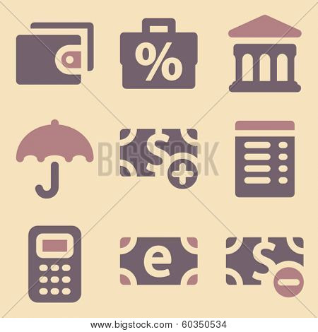 Finance web icons retro color series