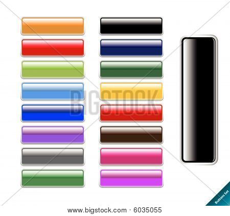 Collection of multi colored glossy internet buttons.Easy to edit, any size, aqua web 2.0 style.