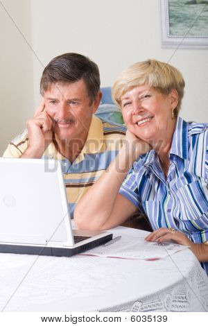 Senior couple use computer