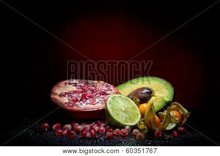 fresh fruits with waterdrops on them