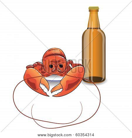 Bootle Of Beer And Lobster