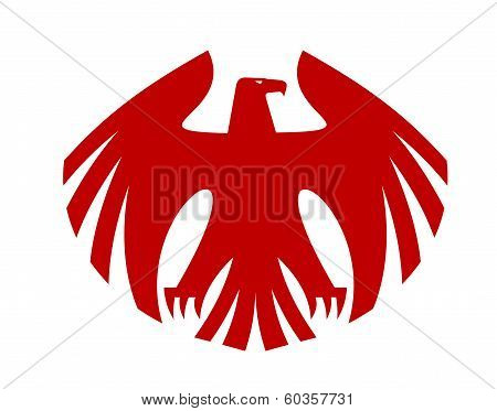 Fierce red eagle heraldic silhouette