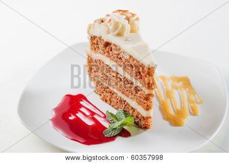 piece of sponge cake with fruit jam