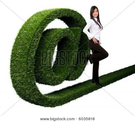 Business Woman With An 'at' Symbol