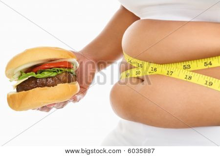 Fat Stomach Surrounded With Measuring Tape And Burger