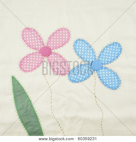 Textile Texture Pink And Blue Floral From Pillowcase