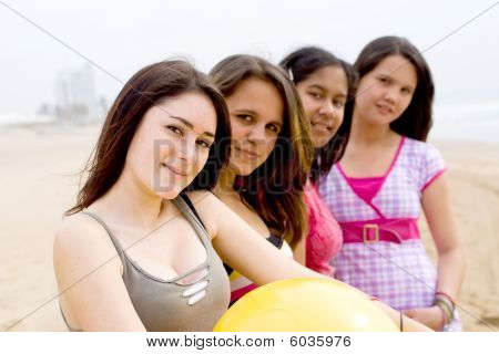 Group of teen girls