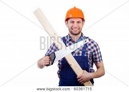 Man Holding Handsaw And Plank