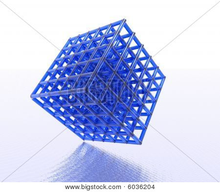 Blue Pipes Merged in Cube