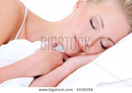 Beautiful Blonde Woman Sleeping