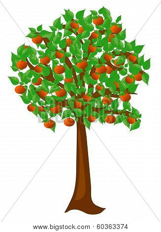 Summer tree with fruits peaches