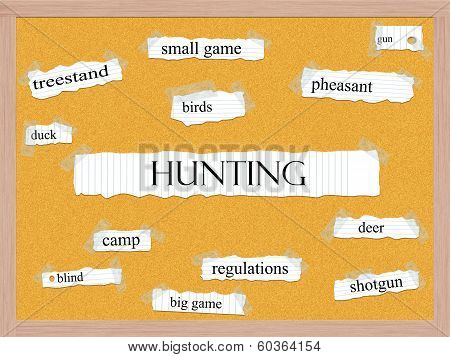 Hunting Corkboard Word Concept
