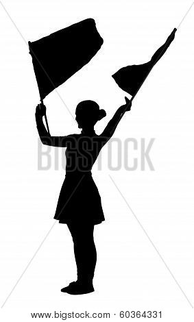 Drum Majorettes Waving Flags Line Girl