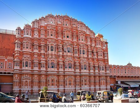 JAIPUR INDIA - JANUARY 29: Hawa Mahal or Palace of Winds on January 29 2014 in Jaipur India. Concubi