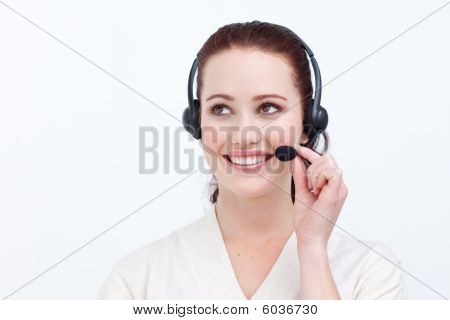 Attractive Woman Talking On A Headset