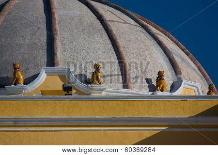 Lion Sculptures On The Dome Of Iglesia De La Merced Antigua Guatemala