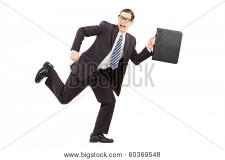 Scared male businessman running away from something isolated on white background