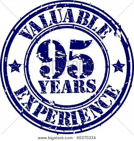 Valuable 95 years of experience rubber stamp, vector illustration