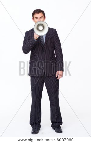Attractive Businessman Shouting Through A Megaphone