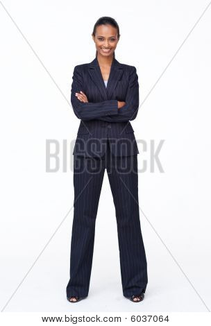 Isolated Confident Indian Businesswoman Smiling At The Camera