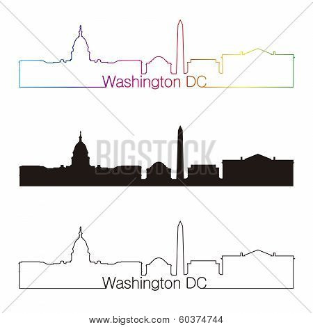 Washington Dc Skyline Linear Style With Rainbow