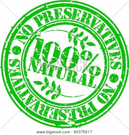 Grunge no preservatives 100 percent natural rubber stamp, vector illustration