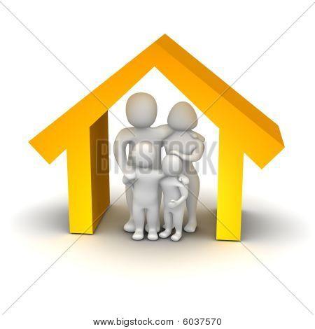 Familia feliz dentro de casa