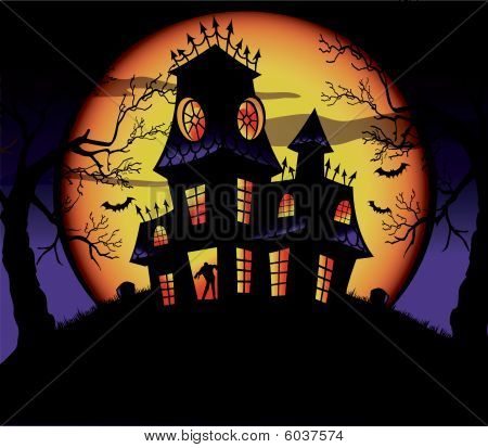Vector Spooky Haunted House