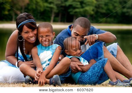 African Family Having Fun