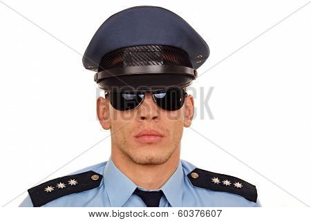 Portrait of policeman at sunglasses