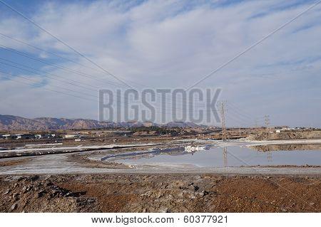 Artificial salt lake near Eilat, Israel