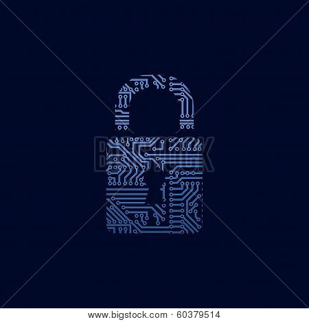 Data security icon. Circuit board padlock.