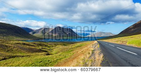 Road to sea lagoon. Iceland