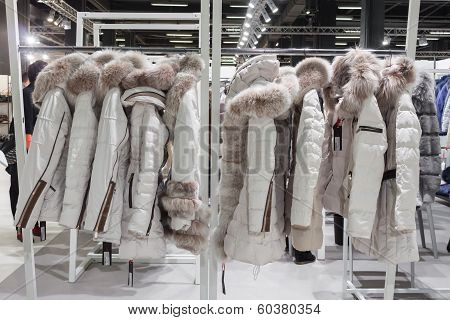 Coats On Display At Mipap Trade Show In Milan, Italy