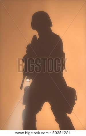 SWAT officer silouette in the fog