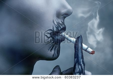 Sick Woman Smokes A Cigarette, Side View