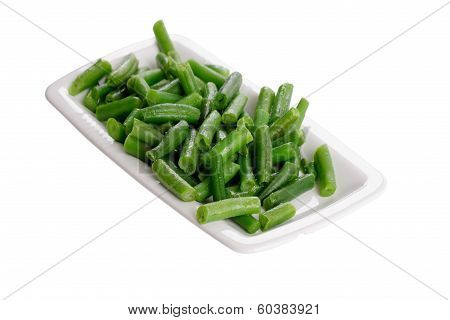 Fried Green Beans On A White Plate