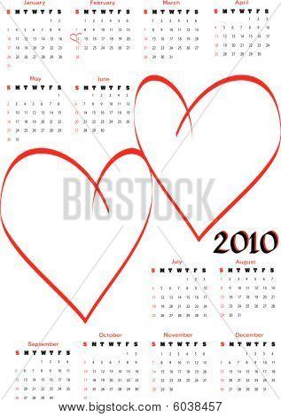 Calendar 2010 with blank hearts