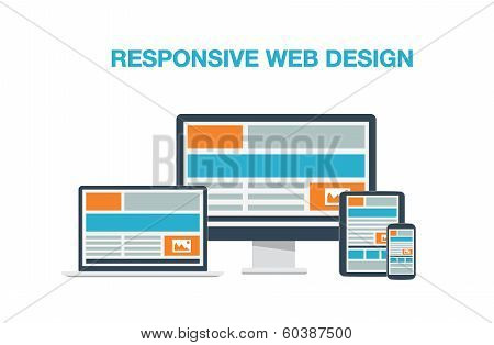 Fully responsive web design flat computer icons vector illustration